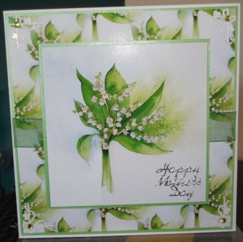 Handmade mother/'s mothers day card with lilly of the valley flowers design