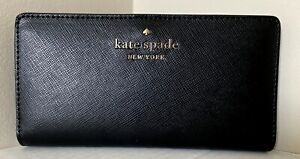 New Kate Spade Staci Large Slim Bifold wallet Black