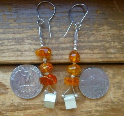 Natural Baltic amber earrings with sterling silver 925 hooks