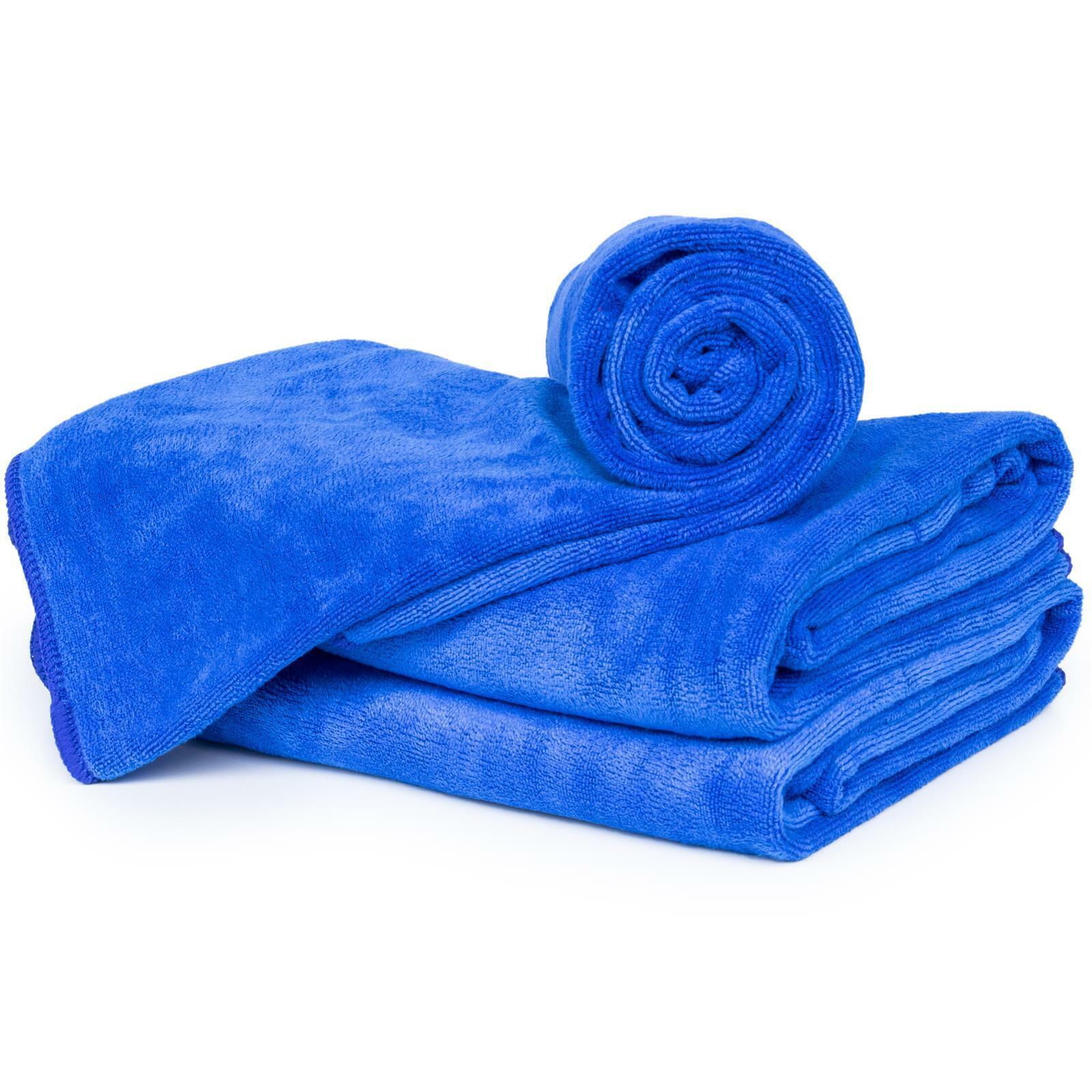 3 Piece Microfibre Towel, Navy – Shower Towel Bath Towel Sauna Towel – 40x60cm