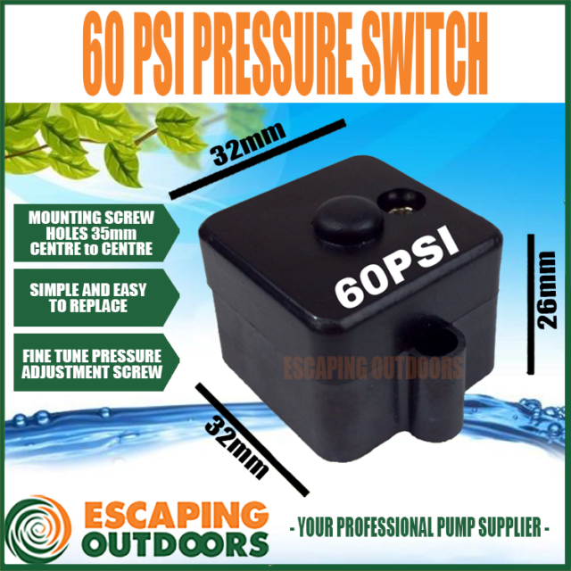 60 PSI Pressure Switch suits FL60 FL60C Diaphragm Water Pump Escaping Outdoors