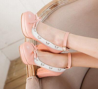US4-11 womens sweet Lolita pumps ankle strap lace block heel platform round toe