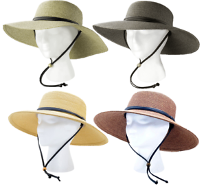 d19a2619dd5bb1 SLOGGERS Wide Brim Braided Sun Hat with Wind Lanyard UPF 50+ ...
