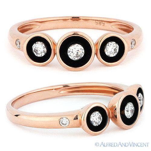 0.17ct Round Brilliant Cut Diamond Right-Hand Enamel Fashion Ring 14k pink gold