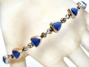 "Taxco Lapis Lazuli Bracelet Sterling Silver Blue Gemstone Mexican Vintage 7.5"""