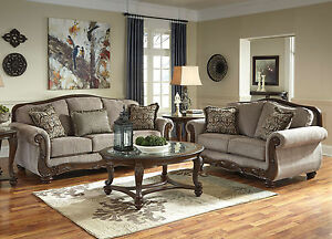 Traditional-Wood-Trim-Brown-Chenille-Living-Room-Set-Sofa-Couch-amp-Loveseat-IG25