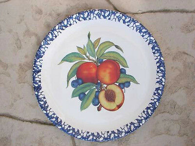 "LARGE Italian Serving Plate Platter Tray 15"" FRUIT Sponge Art New Made in Italy"