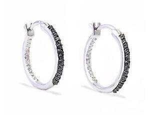 10K-White-Gold-Diamond-Earrings-Black-amp-White-Inside-Outside-Diamond-Hoops-25ct