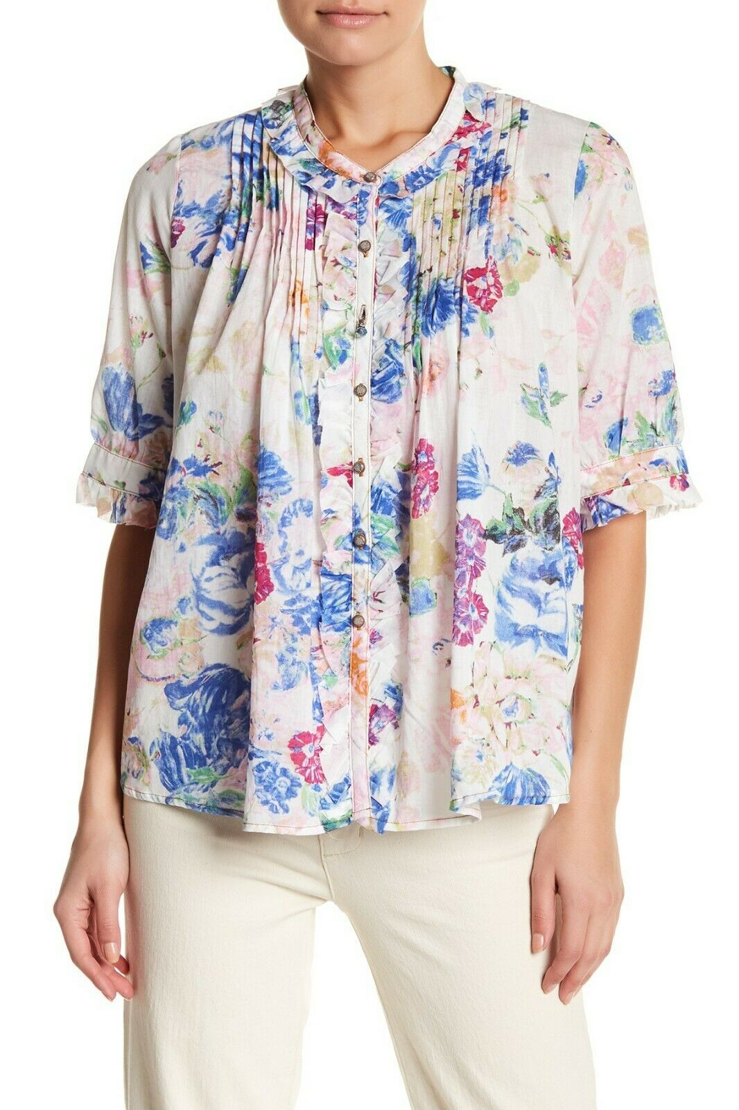 ARATTA Maya Pleated Ruffled Mixed Floral Print Weiß Cotton Top Blouse Größe M