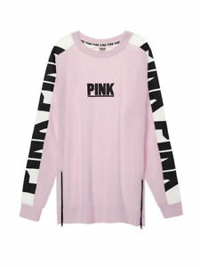155d46fcd938e Details about VICTORIAS SECRET PINK VARSITY SIDE ZIP CREW PINK ABOUT IT  SIZE M NIP