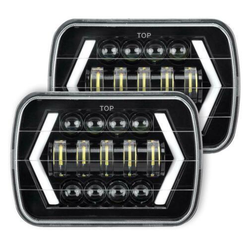 Pair 7x6 5x7 LED Headlight Halo Hi//Low Beam DRL Black For Toyota Tacoma Pickup