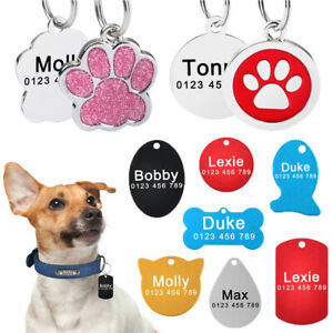 Custom-Engraved-ID-Name-Personalized-Dog-Cat-Pet-Tags-Stainless-Steel-Paw-Bone