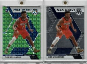 2019-20-PANINI-MOSAIC-269-NBA-DEBUT-ZION-WILLIAMSON-RC-GREEN-PRIZM-amp-BASE-SET
