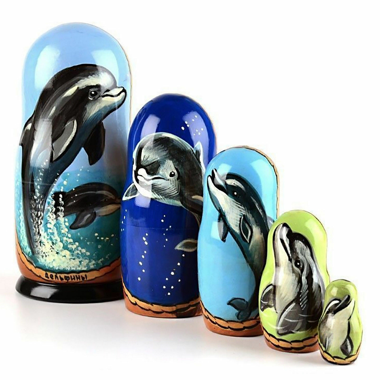 Nesting dolls Dolphins. Signed Hand-painted matryoshka 7