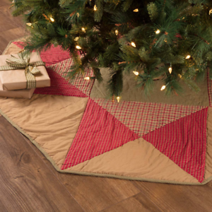 """New Primitive Red Green Quilt DOLLY STAR Quilted Christmas Tree Skirt 48/"""""""