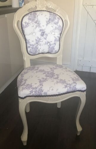 French chair hand painted cream covered with lilac pattern material