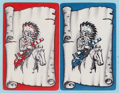 DOGS CHASING BIRDS Pair of Vintage Swap//Playing Cards