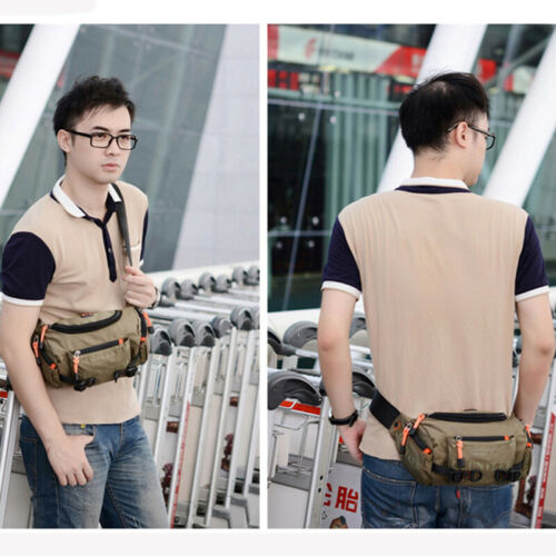 Men Waterproof Oxford Belt Fanny Pack Travel Hiking Sports Hip Large Waist Bag