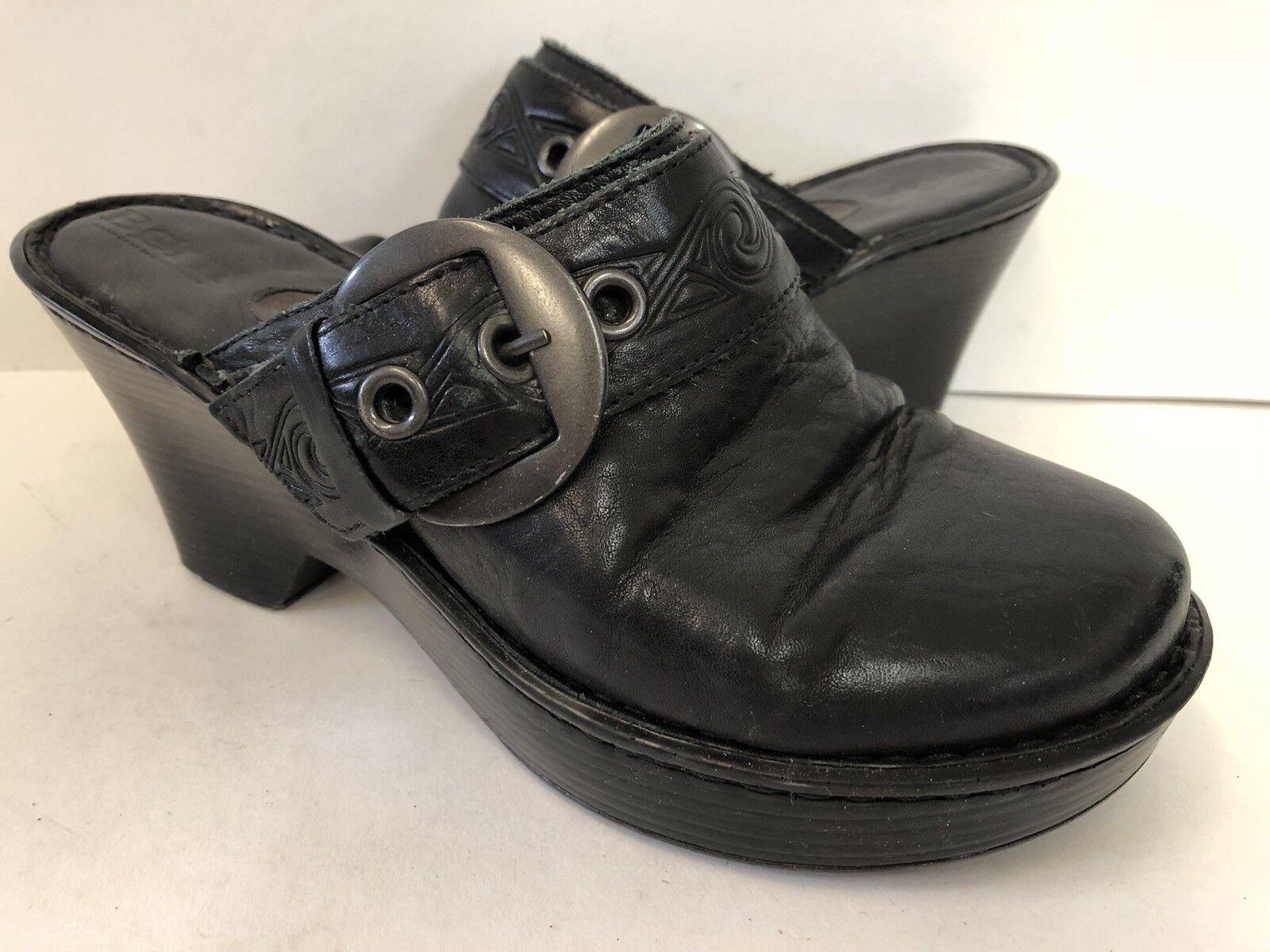 Born Black Buckle Leather Heeled Clogs Size 8 Buckle Black Slides Slip On 2ca01b