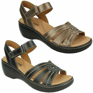 a2acf053cff LADIES CLARKS LEATHER RIPTAPE WEDGE BEACH OPEN TOE SUMMER SANDALS ...