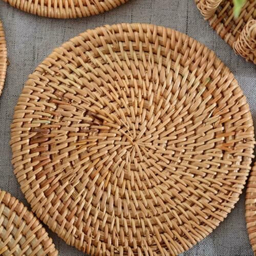 Rattan Coaster Drink Hot Pan Pot Set Mat Woven Natural Bowl Handmade Kitchen x 1