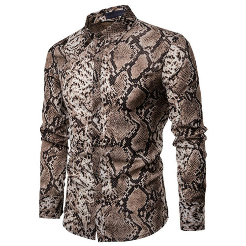 Men Business Leisure Shirts Snake Print Gentleman Long Sleeve Lapel Collar Chic