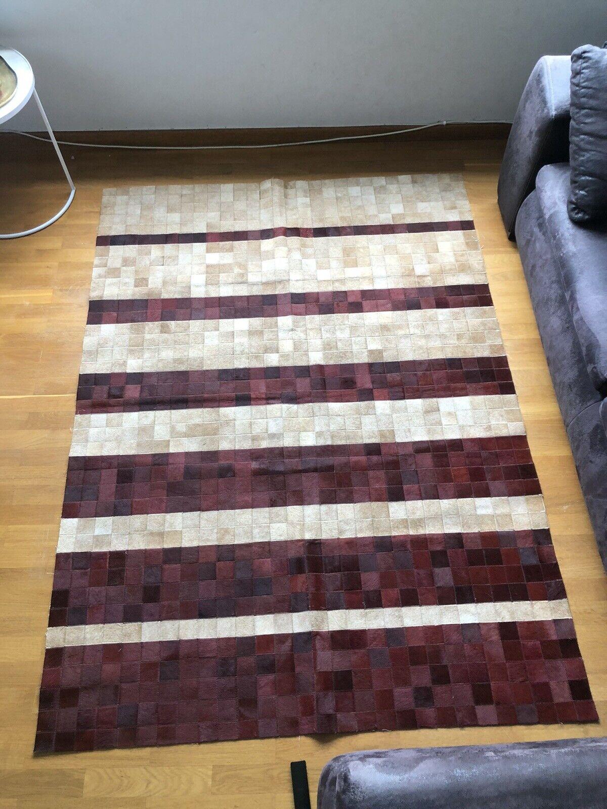 alfombra salon pelo corto, cuero de vaca, PACHWORK, 140cmX190cm