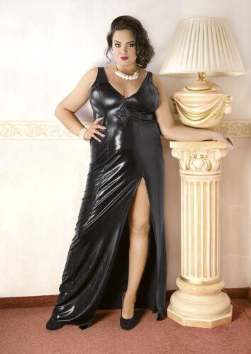 Abendkleid schwarz in Übergröße glänzend rückenfrei Wetlook Große Größe