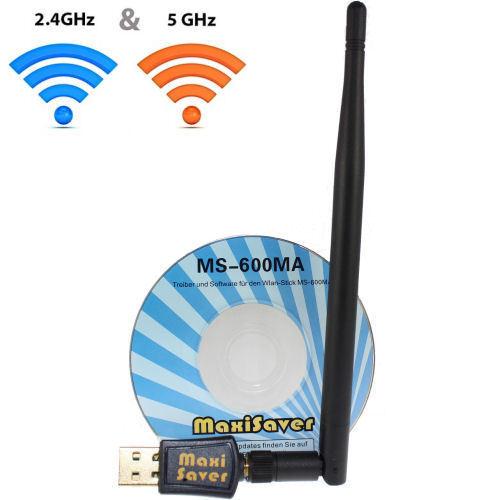 600 Mbit/s Dual Band WIFI WLAN Stick Adapter USB IEEE 802.11ac/b/g/n 2,4 & 5 GHz