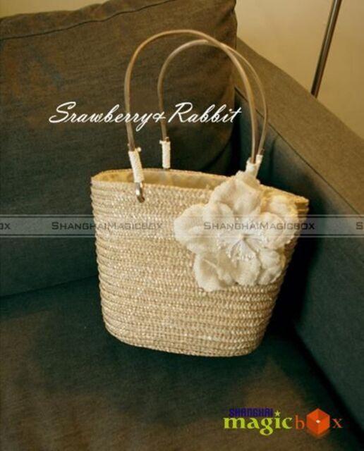 Women Sweet Straw Beach Flower Tote Shoulder Bag #385