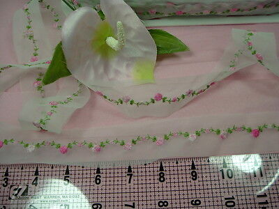 "Sewing Craft Appliques TRIMS White "" Rose Applique on Netting"" 3 Yards"