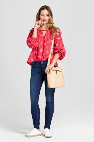 Closeout Neuf avec étiquettes Universel Filetage Long Sleeve Woven Top Rouge Fleuri Femme S