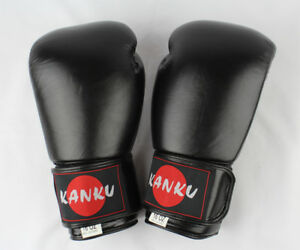 Kanku Boxing Gloves All Black 12, 14,16 Oz Cow Lather for Training Sparring Bag