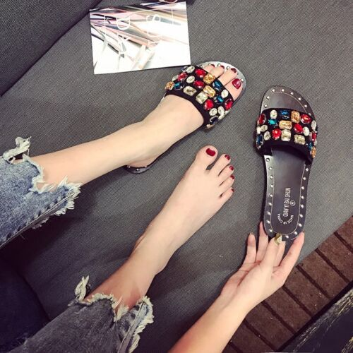 Womens Summer Slippers Rhinestones Open Toe Flats Casual Beach Shoes Sandals Hot