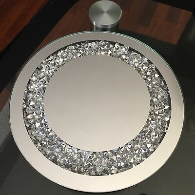 25cm ROUND JEWEL DIAMANTE MIRRORED CANDLE TRAY DECORATION WEDDING BLING DINNER