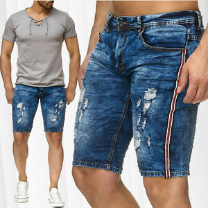 Herren-Bermuda-Destroyed-Jeans-Shorts-Leeyo-Stretch-Denim-Capri-Hose-Kurz-Sommer