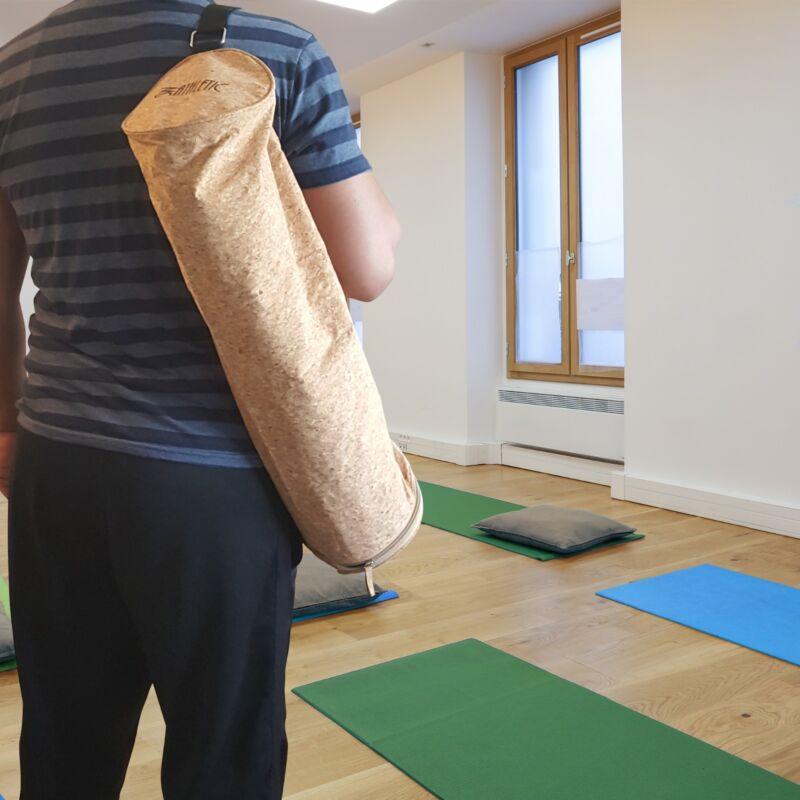 "Eco Friendly Yoga Mat Bag Cork Tote Fitness Yoga Duffel Fits Yoga Mats Up To 28"""