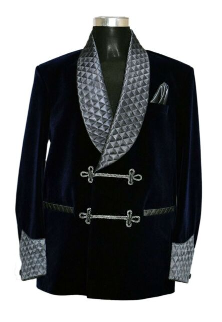 Men Elegant Luxury Stylish Designer Blue Smoking Jacket Party Wear Blazers