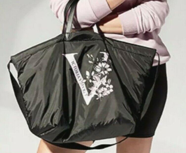 NWT Victoria Secret Tote Bag Puffy Black Nylon Logo Floral Lilac Full Zip Large