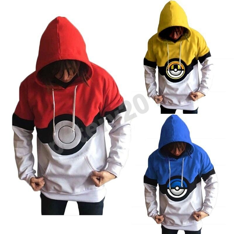 Pokemon Go Trainer Hoodies Anime Cosplay Costume Hoody Sweatershirt Jacket