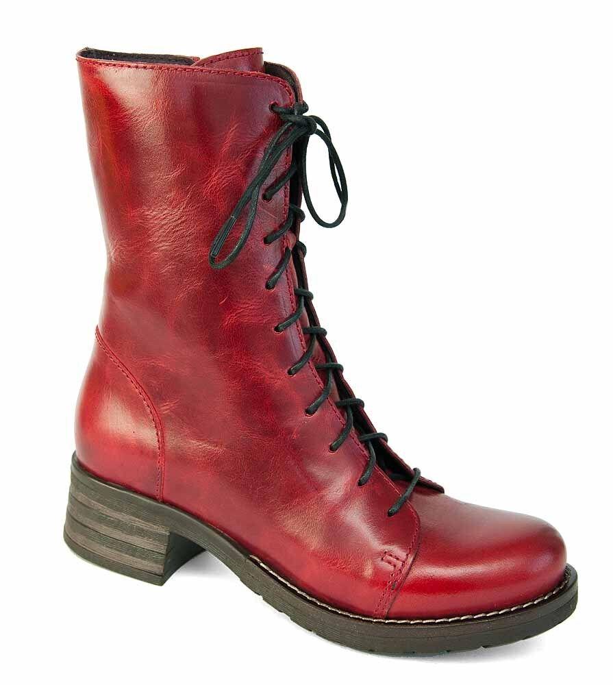 Brako Stiefel Boots 8470 BOLERO red Military Leder red m. Reißverschluss NEU