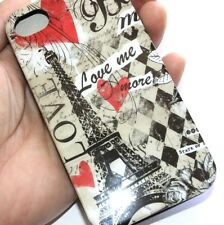 For iPHONE 4 4G 4S - HARD RUBBER CANDY GUMMY GEL CASE PARIS EIFFEL TOWER LOVE