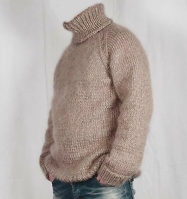 Hand knitting WOOL MOHAIR pullover men sweater big turtleneck, soft thick Jumper | eBay