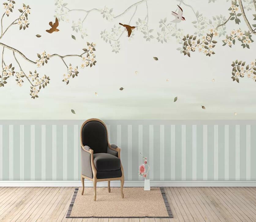 3D Vogel Zweige H2417 Tapete Wandbild Selbstklebend Abnehmbare Aufkleber Wend