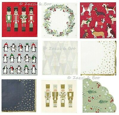 ROSE GOLD METALLIC STAR Christmas Paper NAPKINS Xmas Party 25cm When Open