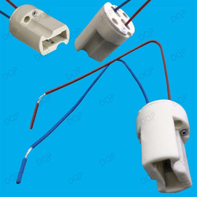 2x G9 Base Ceramic Lamp Holder Cabled Socket Halogen LED Bulb Down ...