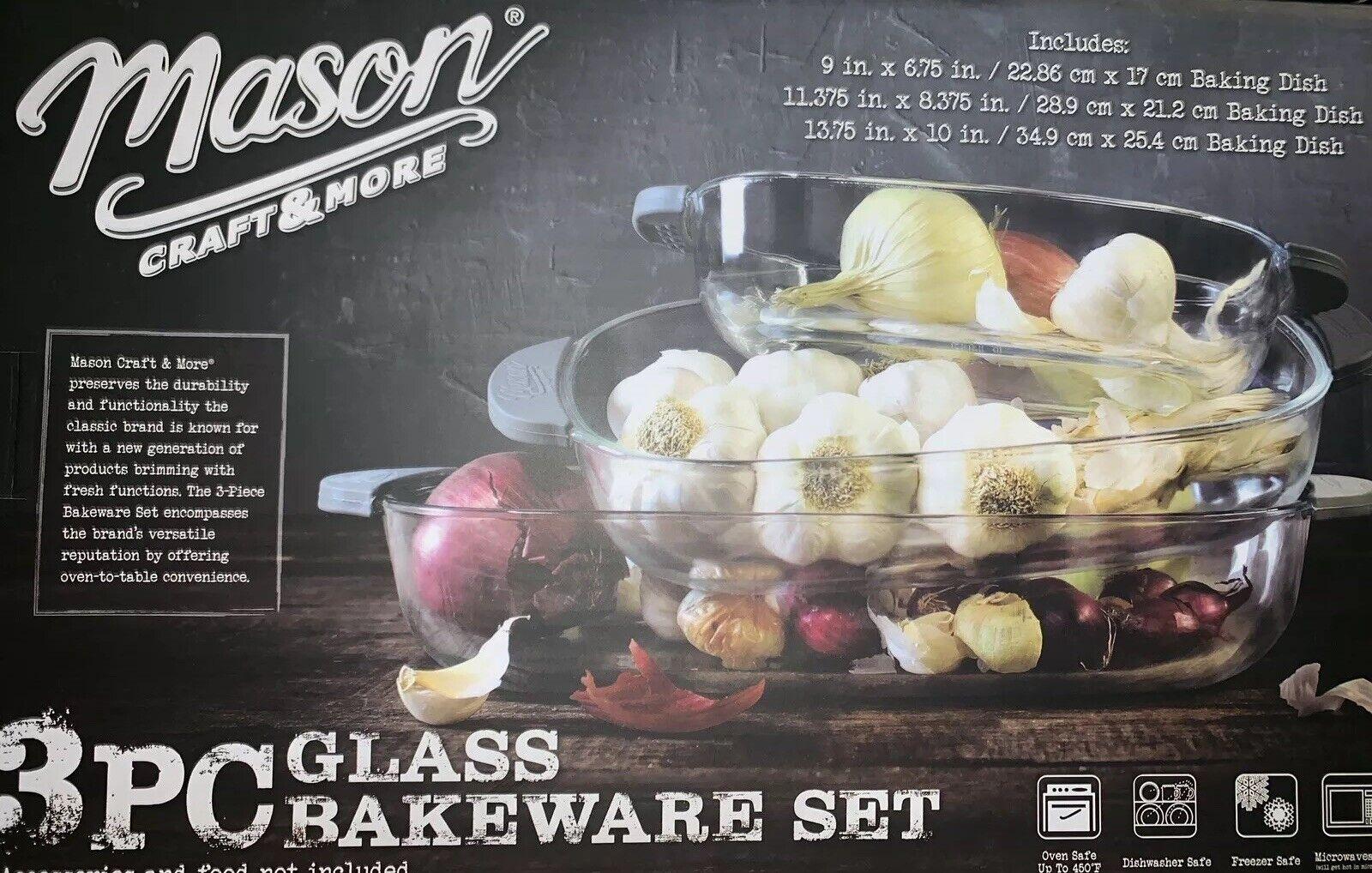 MASON CRAFT & PLUS 3 pièces verre Bakeware Set avec poignées Mason Jar cuisine nouveau