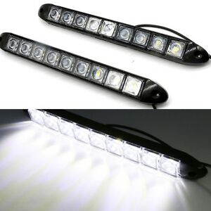 2x 12v 9 led car drl daytime running head light waterproof daylight signal lamp ebay. Black Bedroom Furniture Sets. Home Design Ideas