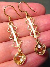925 silver & gold plate zig-zag cut citrine earrings.