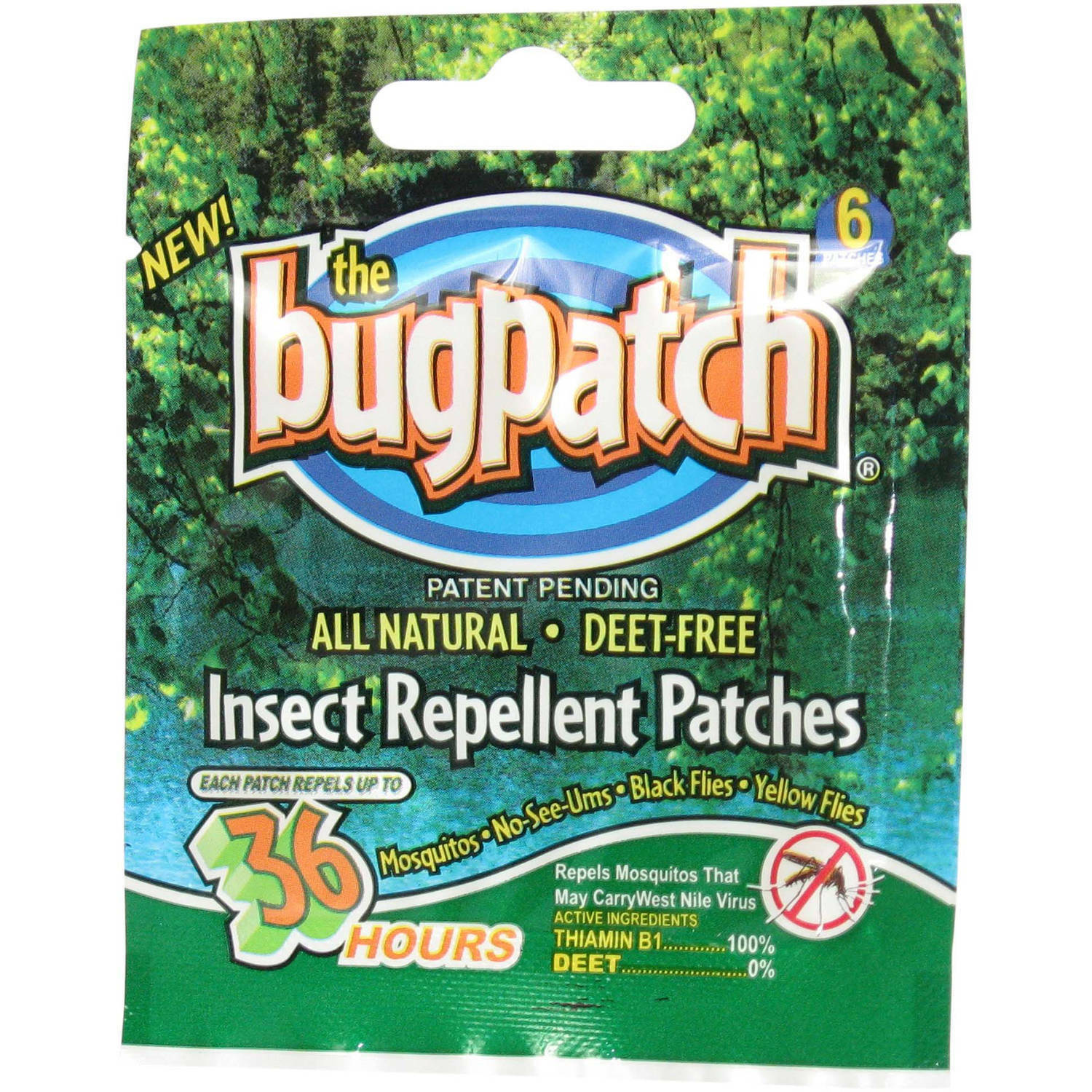 Original Bug Patch DEET FREE Insect Repellent Mosquito Flies Natural 36 Count